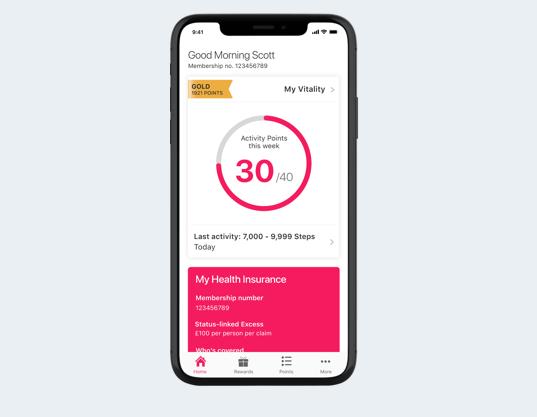 Vitality app home screen