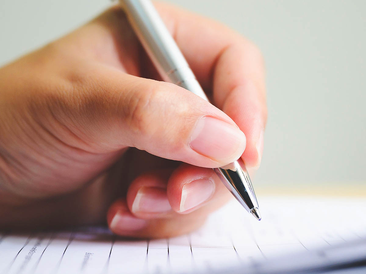 Hand writing on a form