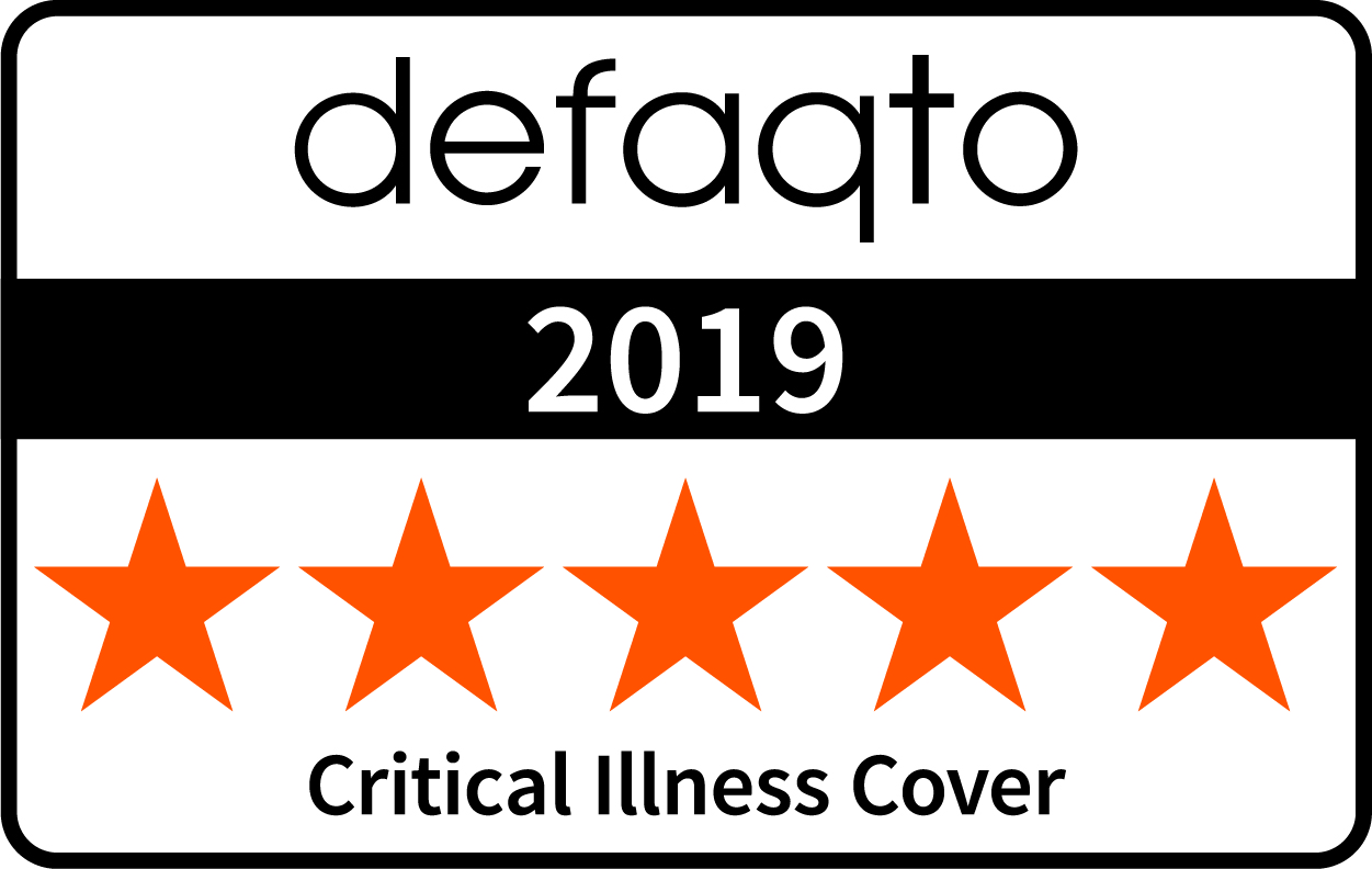 Critical illness cover Defaqto rating 5 stars colour 2019