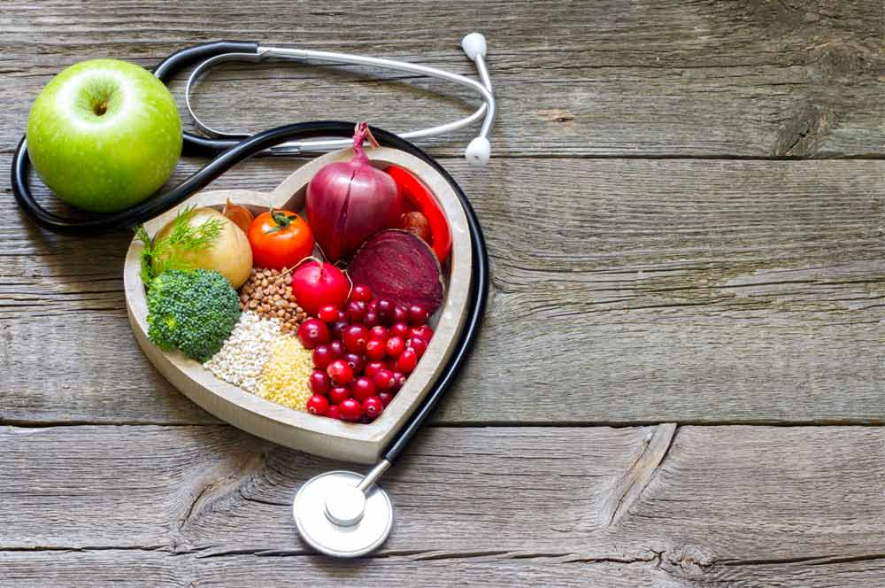 Healthy food and stethoscope