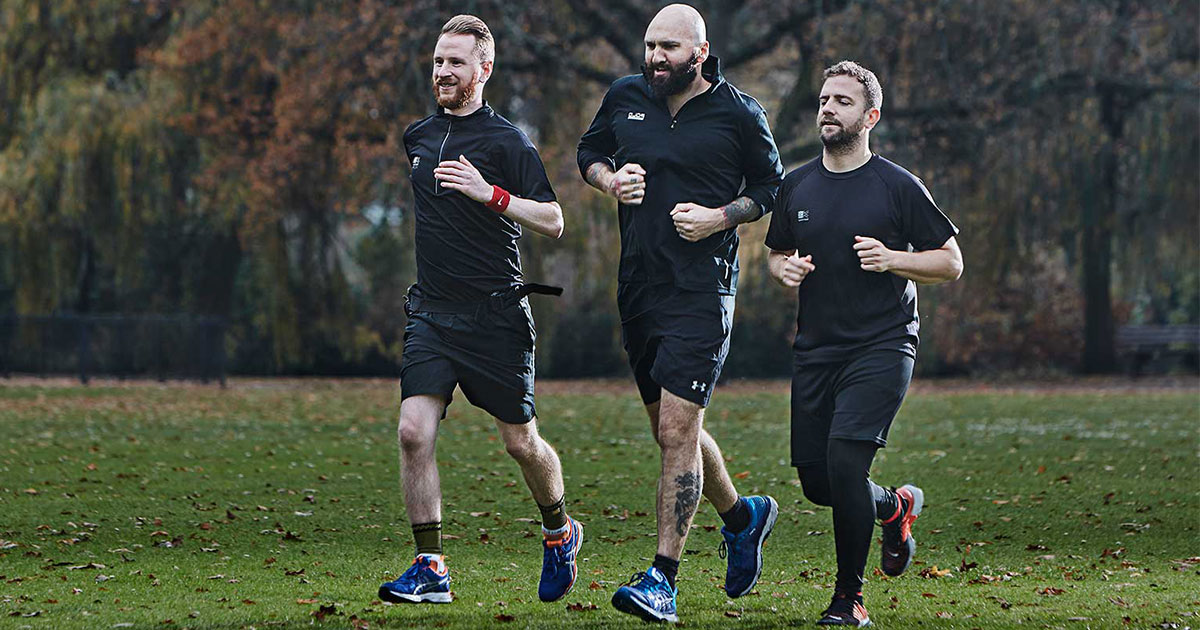 People on a group run