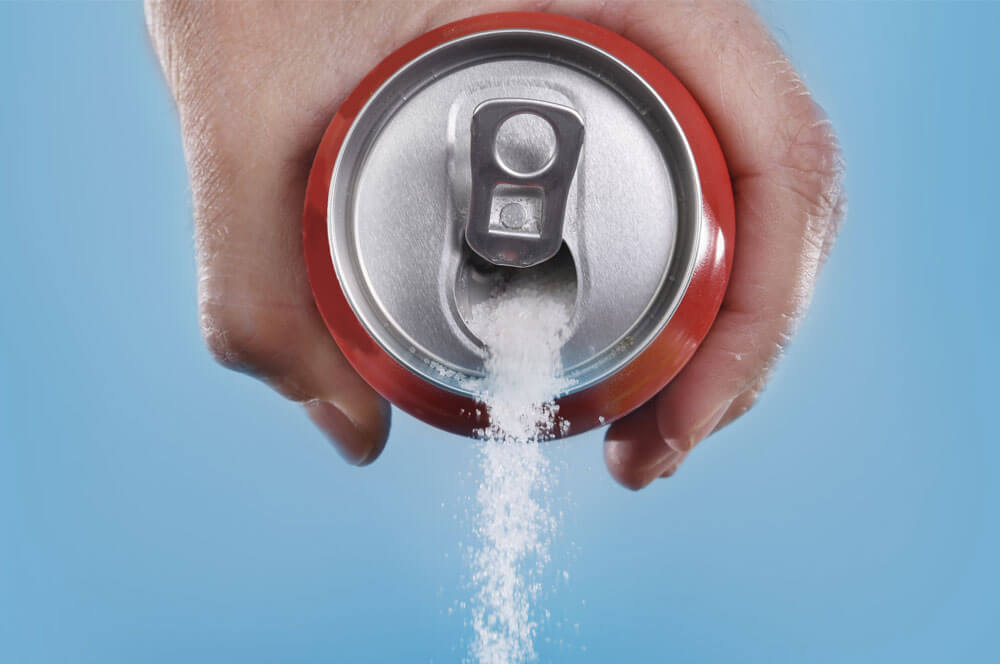 sugar pouring out of can
