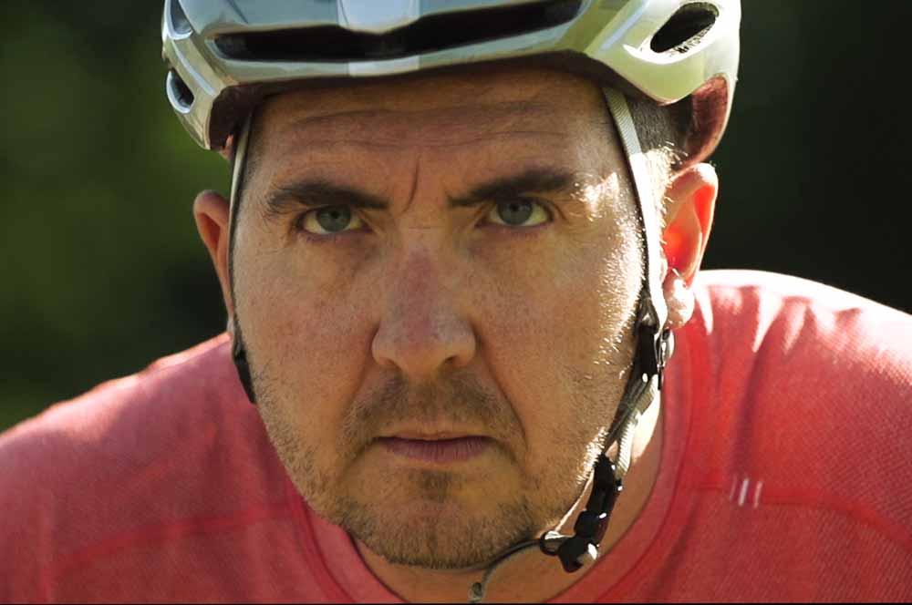 Stephen Morrison wearing a helment