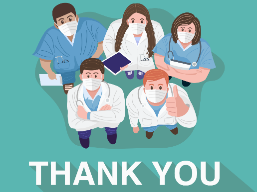 An illustration of doctors and nurses, with the words 'thank you' underneath.