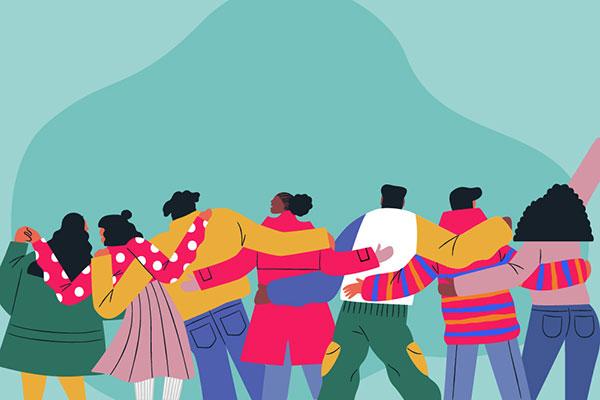 Illustration of people hugging