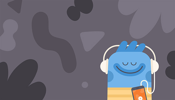 Headspace animation relaxing with headphones in