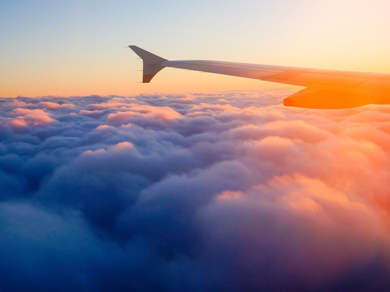 aeroplane wing in cloud