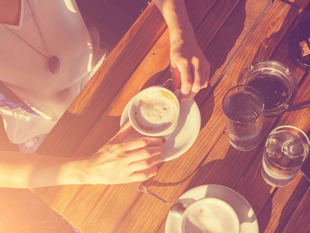 coffee cups on cafe table