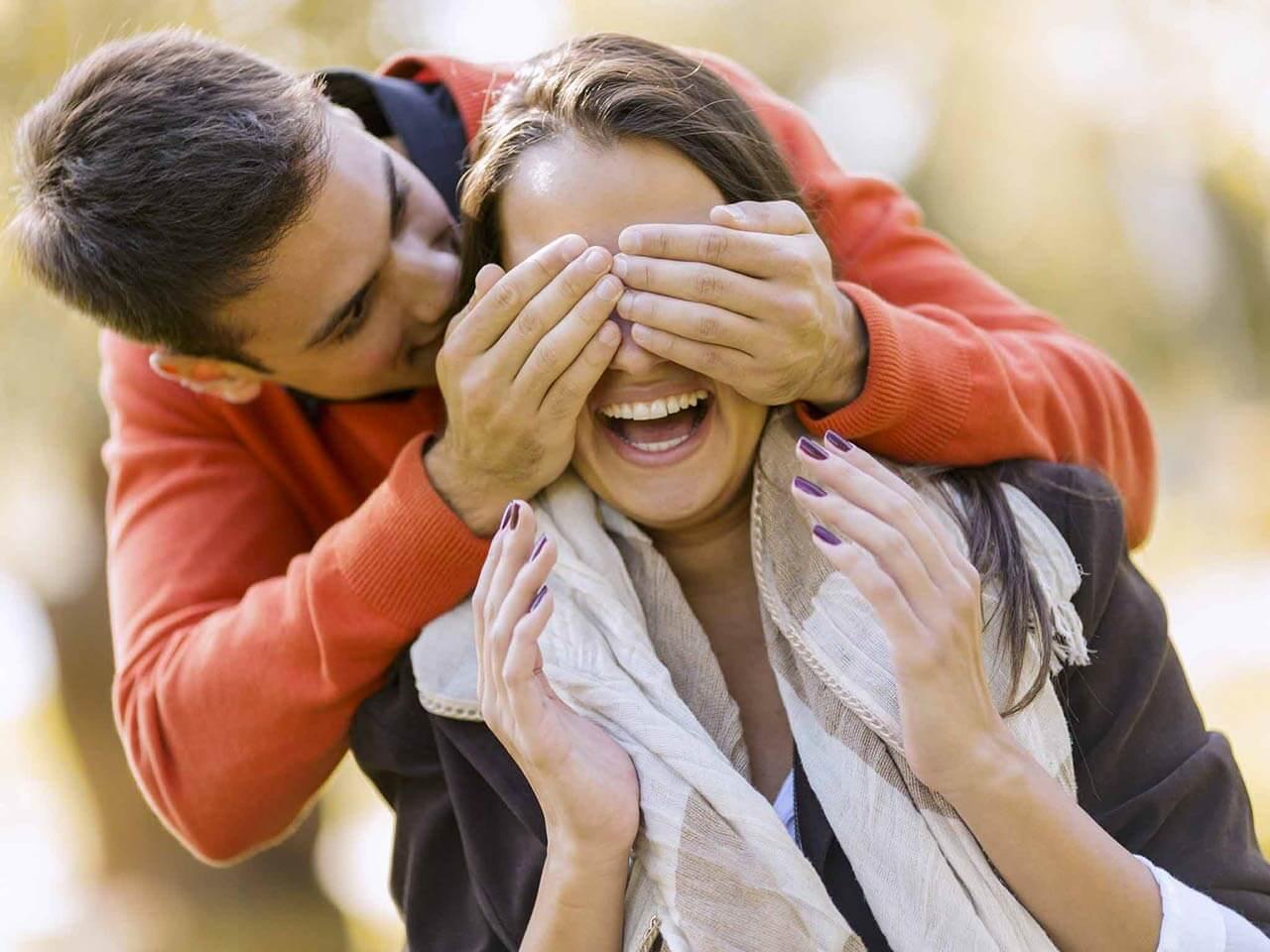 Couple revealing a suprise
