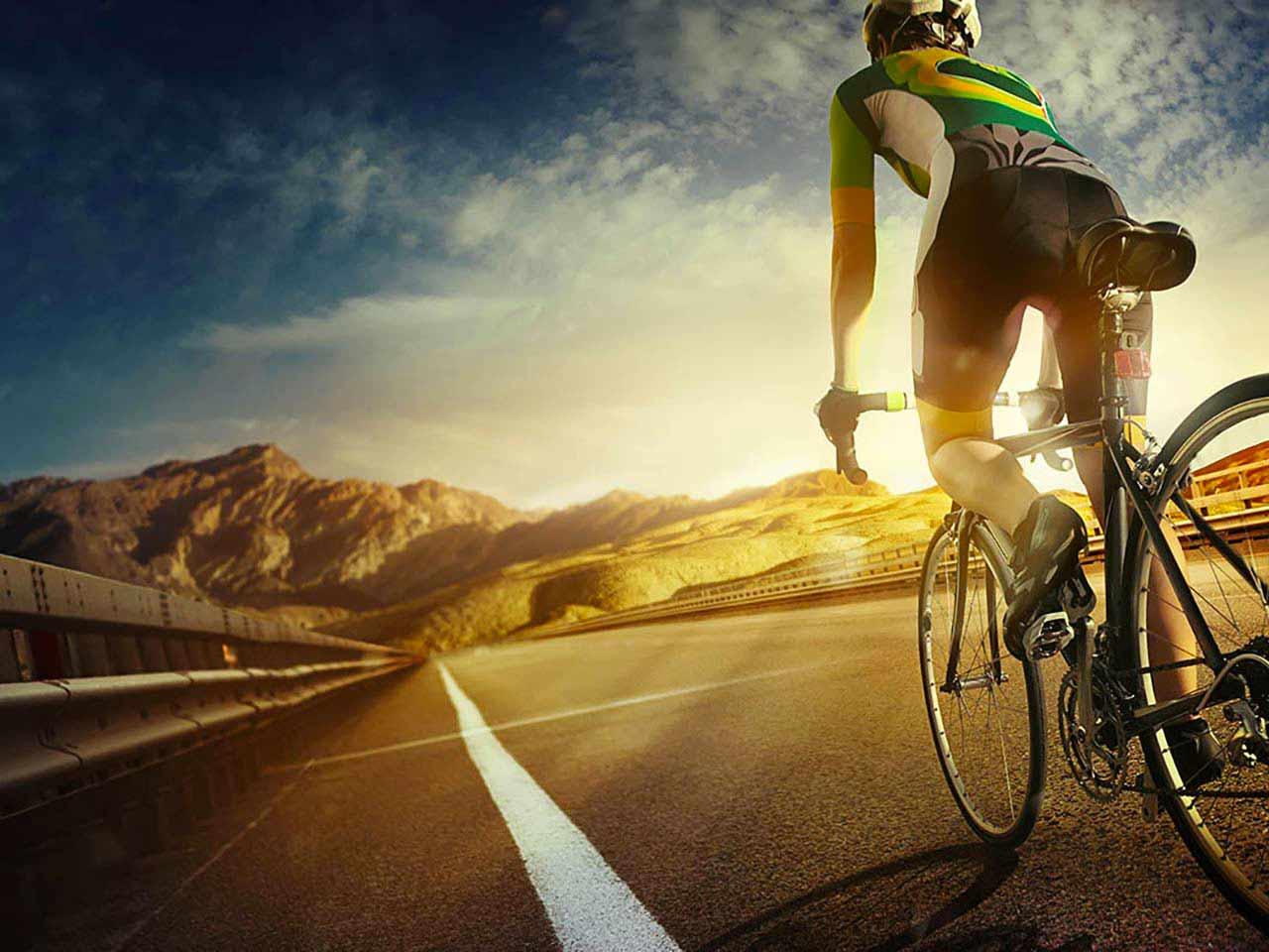 Cycling along road