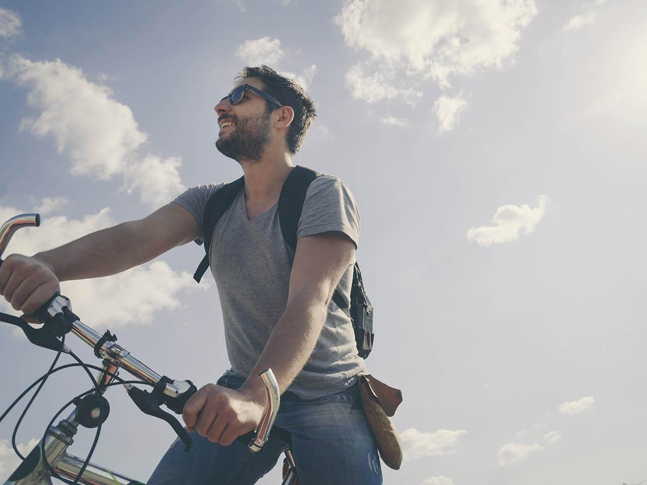 man riding a bike