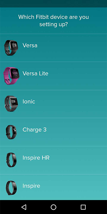Select your Fitbit device to set up