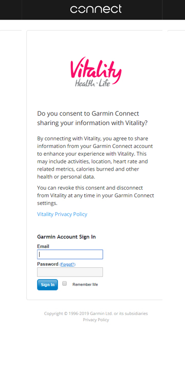 Consent to sharing information with Vitality