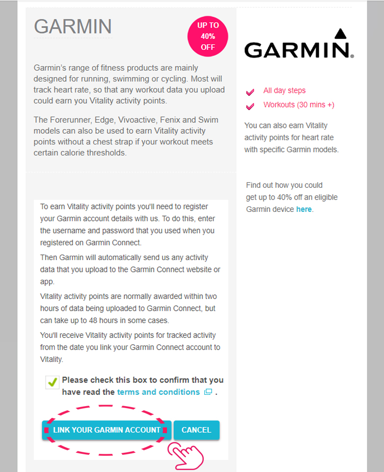 Link Garmin to Vitality