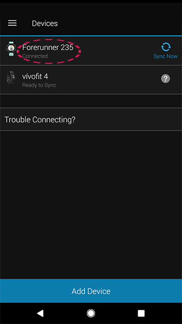 Check that your Garmin device is linked to Garmin Connect