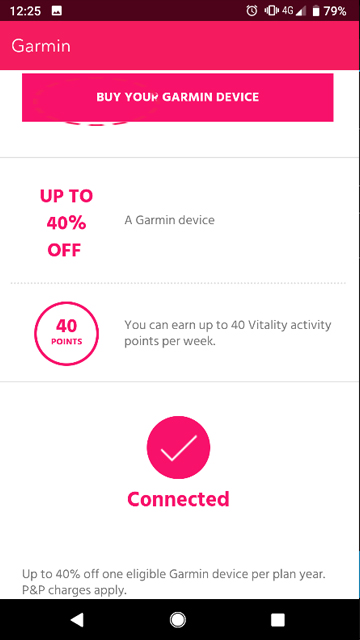 Check Garmin is linked to Vitality