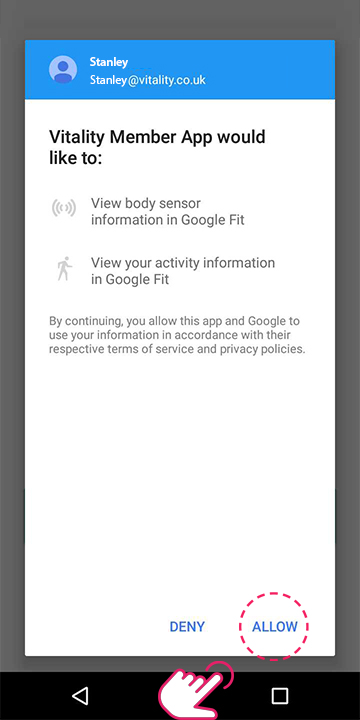 Allow Vitality to receive information from Google Fit
