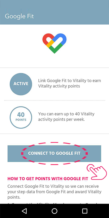 Tap ' Connect to Google Fit'