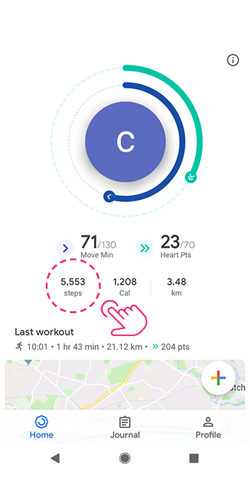 Open Google Fit and tap 'Steps'
