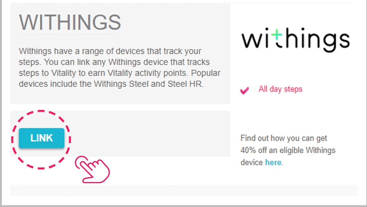 Link your Withings account to Vitality