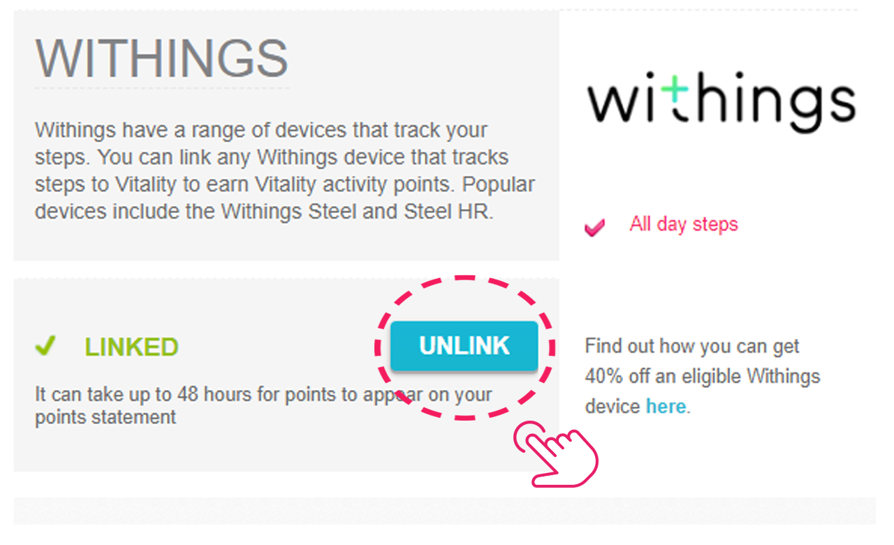 Re-link Withings to Vitality