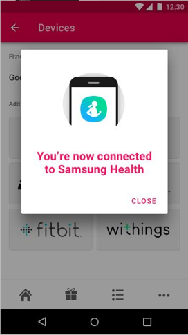 Screenshot of connected to Samsung Health