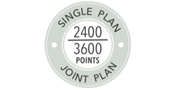 2400 points for single plan holders, 3600 points for joint plan holders for platinum status