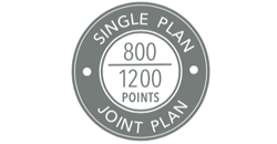 800 points for single plan holders, 1200 points for joint plan holders for silver status
