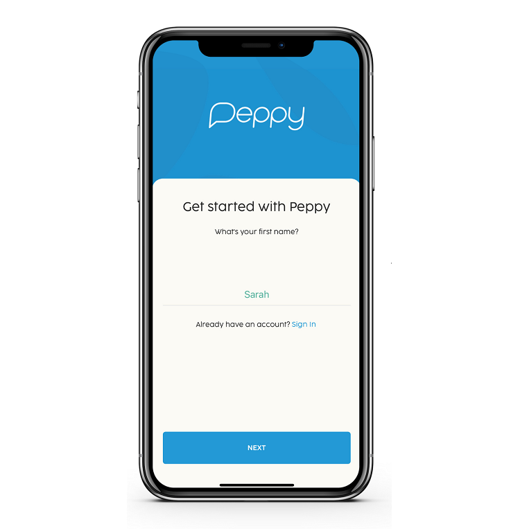 Peppy get started app screenshot