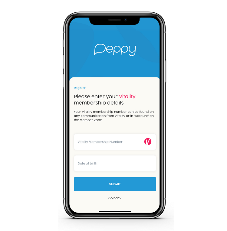 Vitality membership page on Peppy App