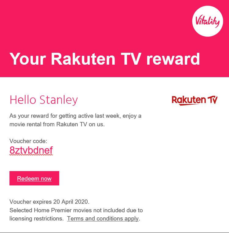 Rakuten TV Vitality email