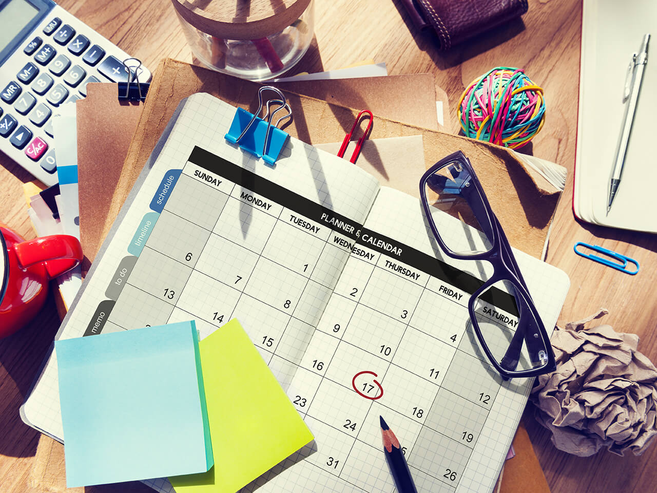 desk with a calendar