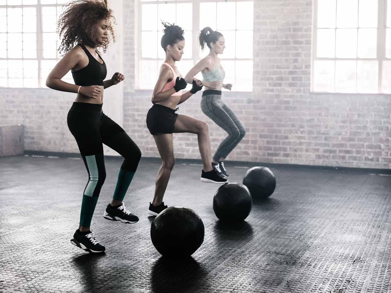 women in a gym class