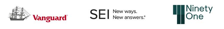 Vanguard, SEI and Ninety One logos