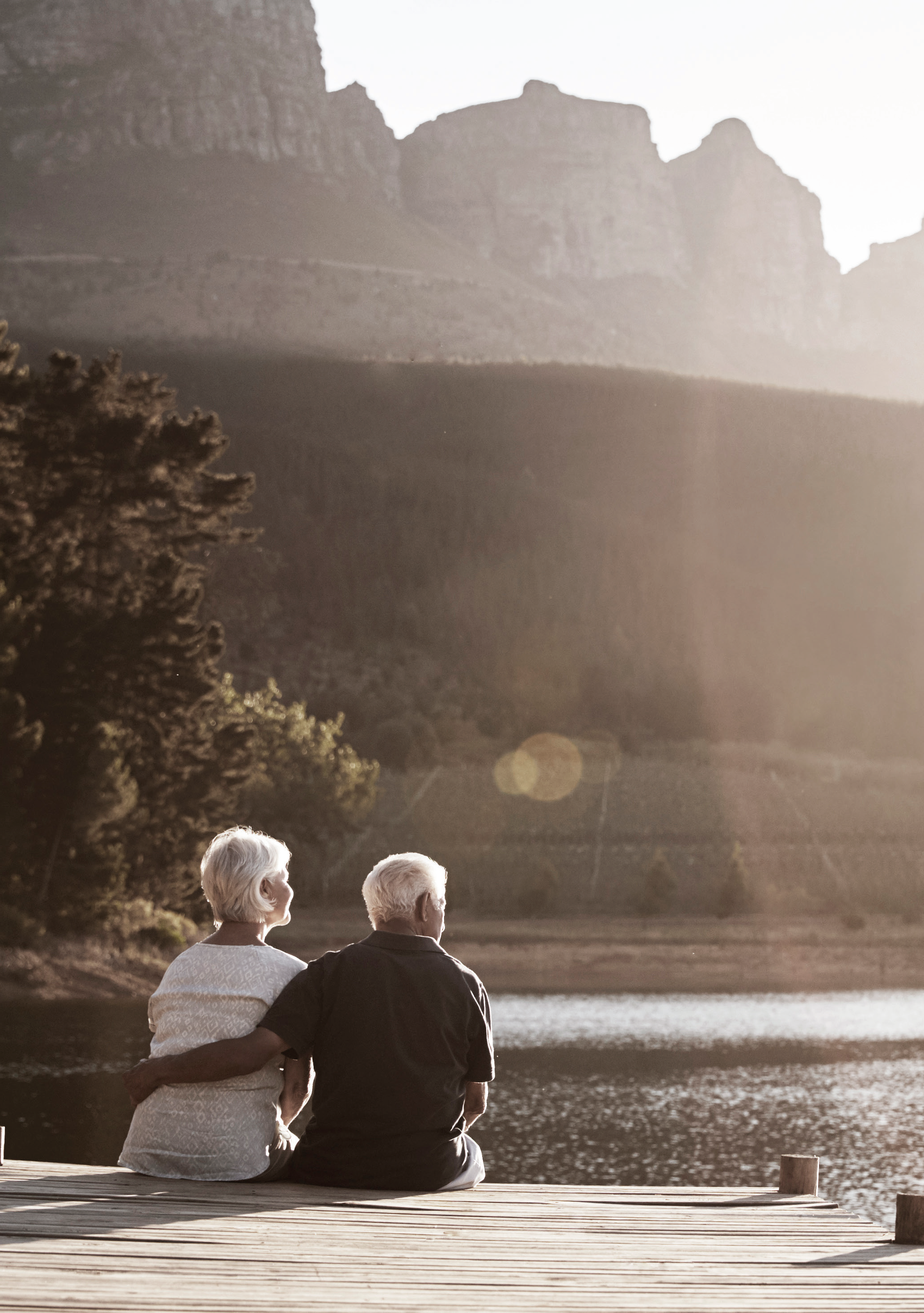 Later Life Options couple by lake scene