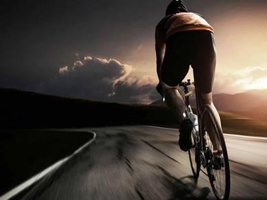 cycling along a road