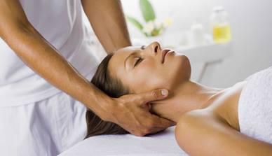 Woman receiving neckrub