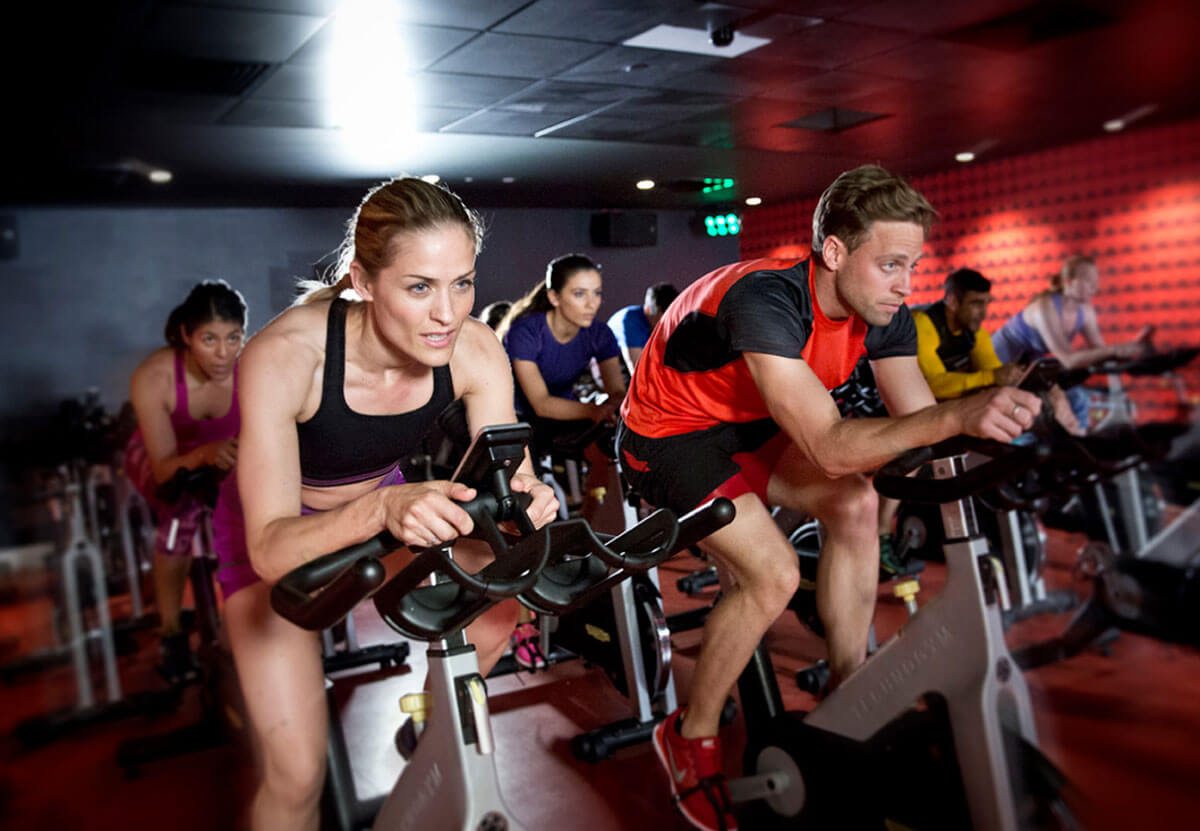 Spin class at Virgin Active