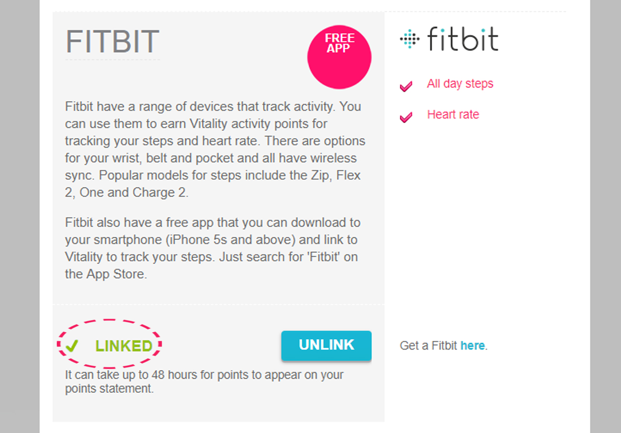 Check that Fitbit is linked to Vitality