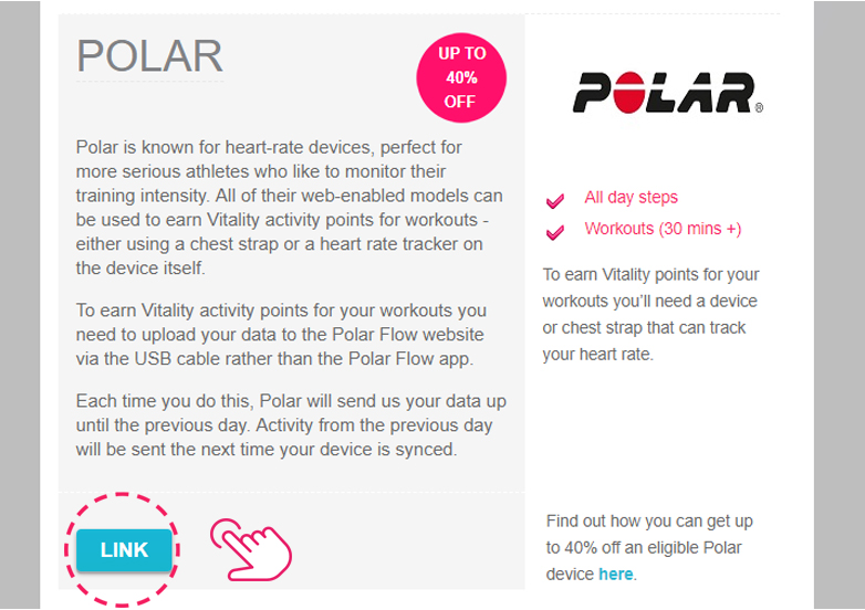 Link your Polar account to Vitality