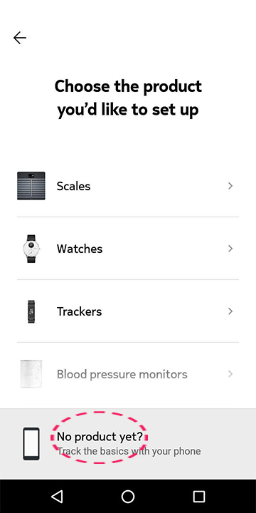 Select your Withings device to set up