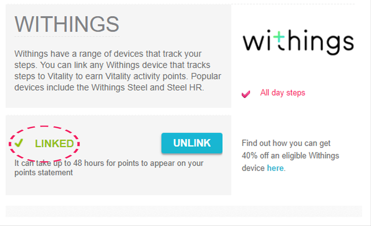 Check that Withings is linked to Vitality